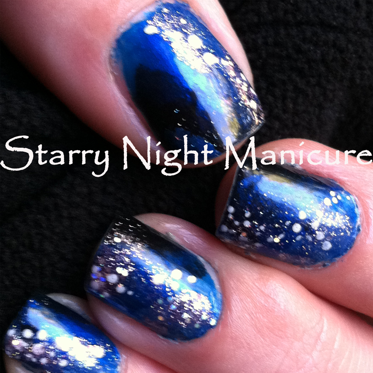 starry night manicure, blue black manicure